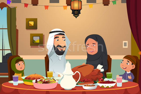 Muslim Family Eating Dinner at Home Stock photo © artisticco