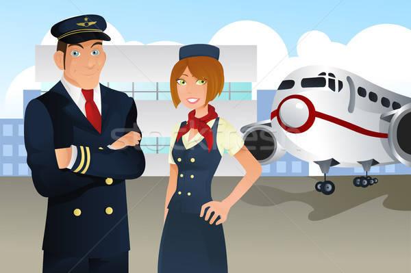 パイロット スチュワーデス 空港 ビジネス 女性 旅行 ストックフォト © artisticco