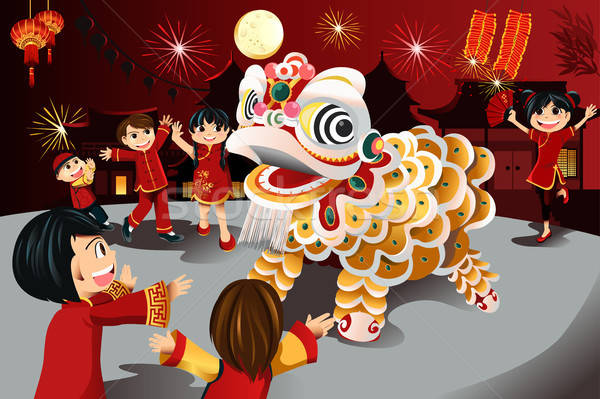 Capodanno cinese celebrazione ragazzi cinese vacanze Foto d'archivio © artisticco