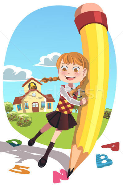 School girl with pencil Stock photo © artisticco
