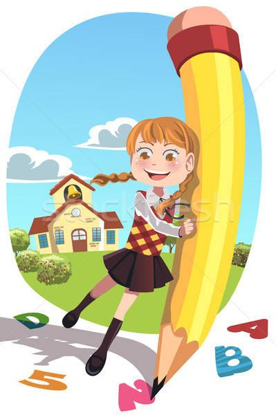 Iskolás lány ceruza boldog tart ír levelek Stock fotó © artisticco