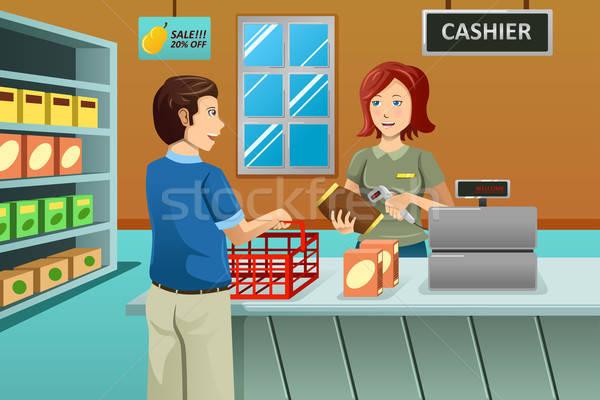 Cajero de trabajo cliente mujer Foto stock © artisticco