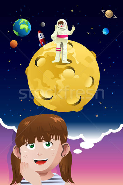 Young girl aspiring to be an astronaut Stock photo © artisticco