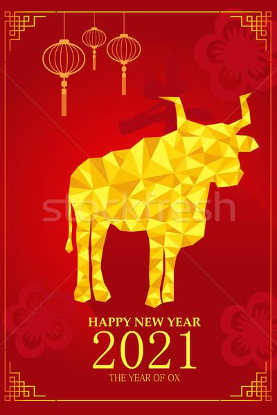 旧正月 デザイン 年 雄牛 お祝い 赤 ストックフォト © artisticco