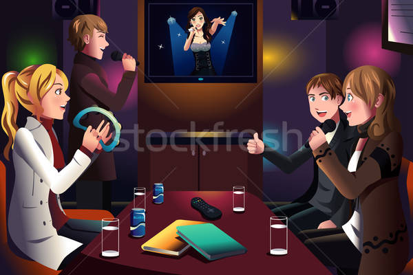 Personnes chanter karaoke groupe de gens ensemble fille Photo stock © artisticco