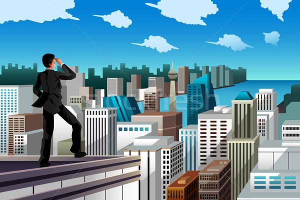 ビジネスマン 立って 屋上 超高層ビル ビジネス 市 ストックフォト © artisticco