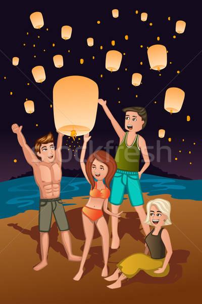Giovani carta lanterne ragazza uomo lampada Foto d'archivio © artisticco