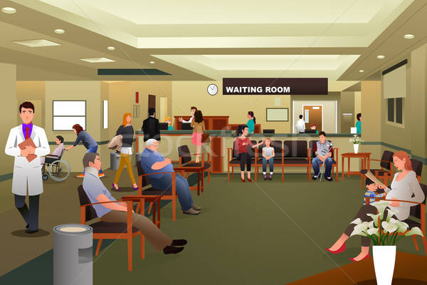 Patients waiting in a hospital waiting room Stock photo © artisticco