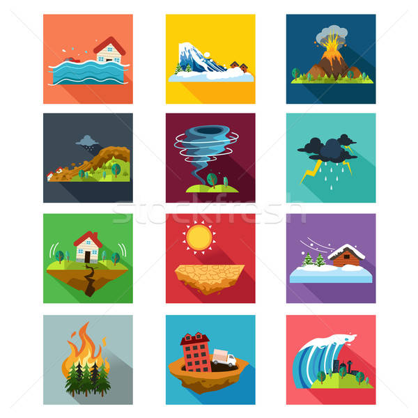 Natural Disaster Icons Stock photo © artisticco