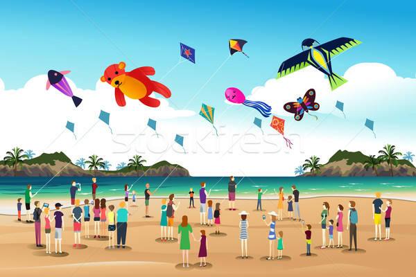 Mensen vliegen Kite festival spelen vrouw Stockfoto © artisticco