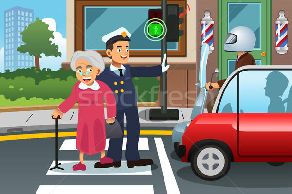 Policeman Helping Grandma Crossing the Street Stock photo © artisticco