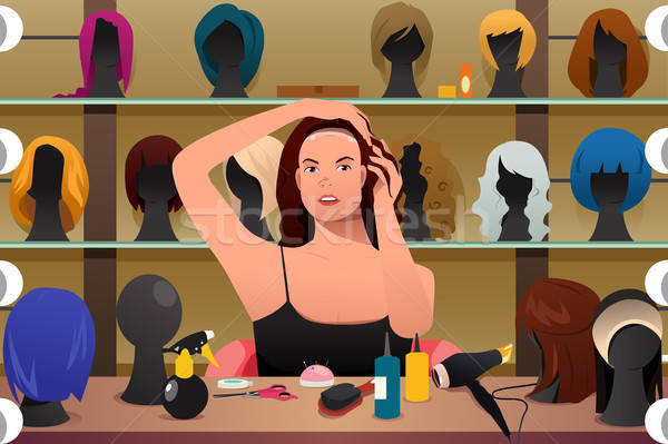 Woman Trying On Wig Illustration  Stock photo © artisticco
