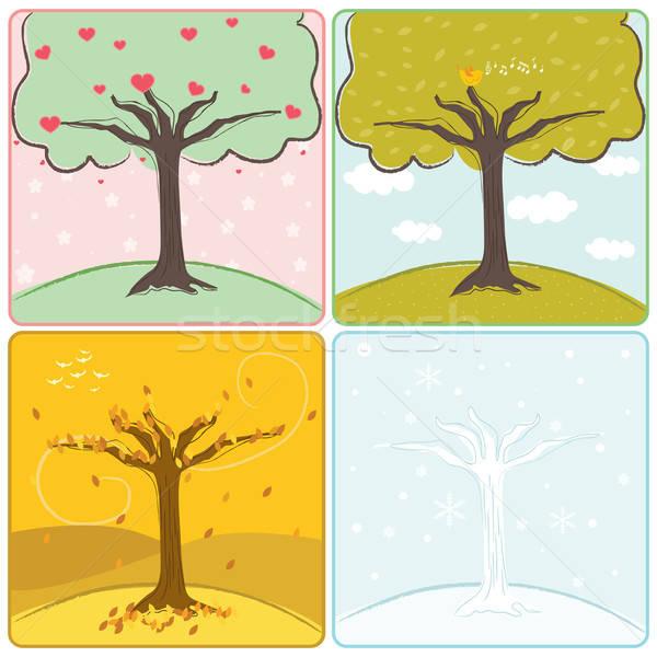 Cztery sezon drzew drzewo cztery pory roku niebo Zdjęcia stock © artisticco