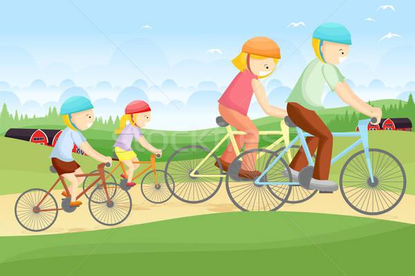 Család motorozás együtt vidéki gyerekek boldog Stock fotó © artisticco