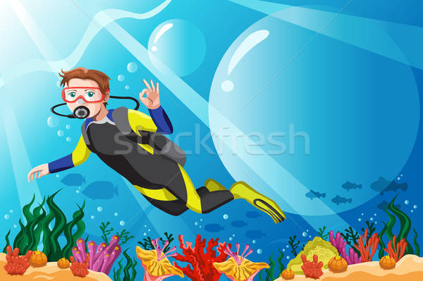 Scuba diver in the ocean Stock photo © artisticco
