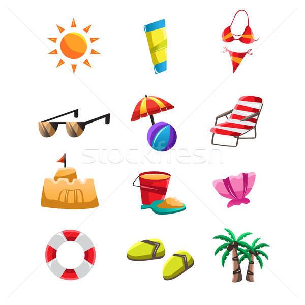 Foto stock: Praia · ícones · ícone · viajar · areia · cadeira
