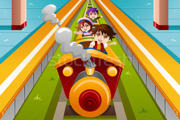 Crianças equitação trem feliz amigos diversão Foto stock © artisticco