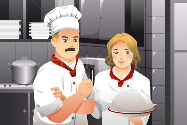 Chef holding a plate of food Stock photo © artisticco