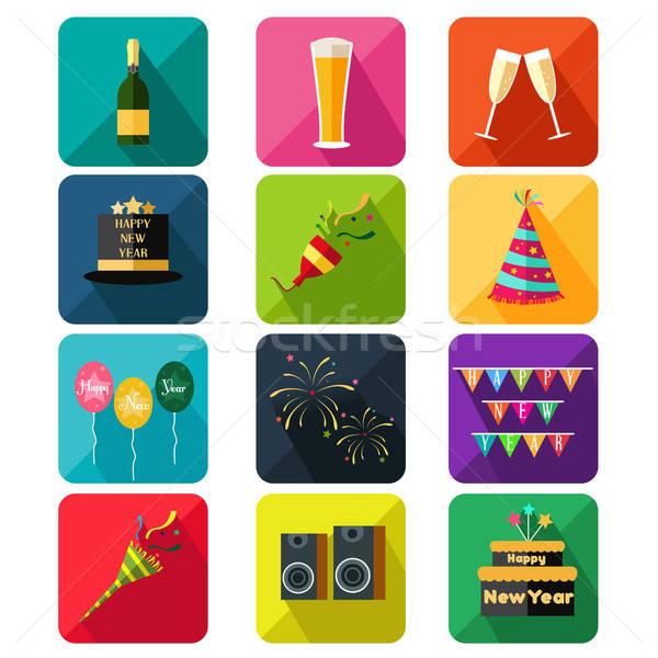 Zdjęcia stock: Nowy · rok · strony · ikona · ikona · żywności · pić