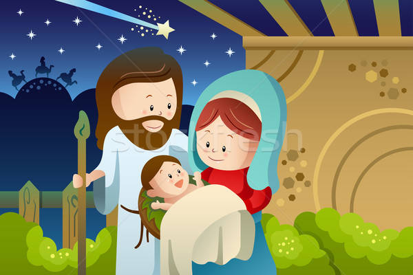 Joseph, Mary and baby Jesus for nativity concept Stock photo © artisticco