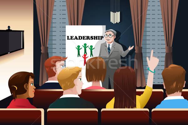 Zakenlieden seminar leiderschap conferentie presentatie tekening Stockfoto © artisticco