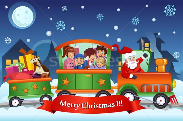 Stockfoto: Kinderen · kerstman · trein · christmas · presenteert