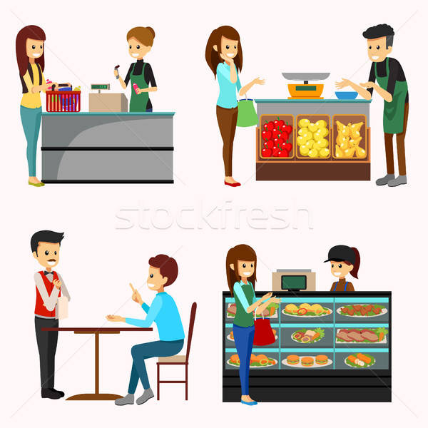 People Shopping Grocery Cliparts Stock photo © artisticco