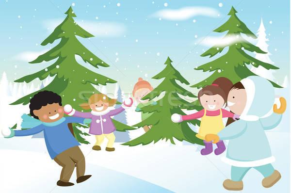 子供 演奏 グループ 雪 冬 幸福 ストックフォト © artisticco