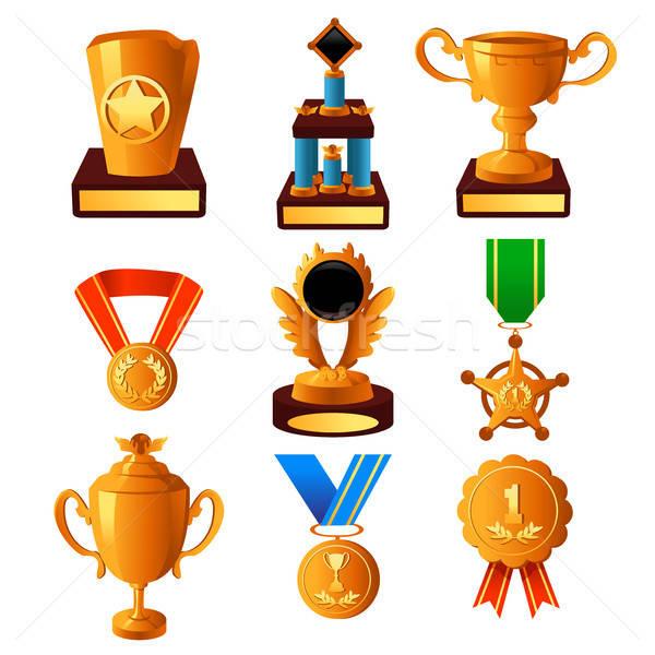 Aranyérem trófea ikonok ikon sport arany Stock fotó © artisticco