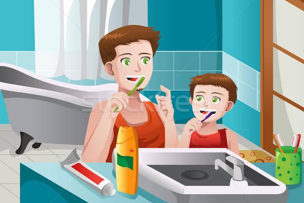 Vader onderwijs zoon borstel tanden kind Stockfoto © artisticco