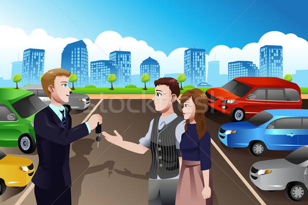 Car salesman with customers in the dealership Stock photo © artisticco