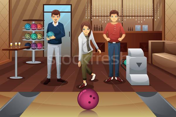 Fiatalok játszik bowling együtt lány mosoly Stock fotó © artisticco
