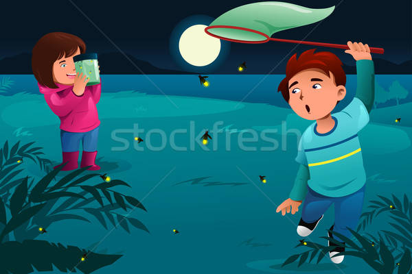 Kids catching fireflies  Stock photo © artisticco