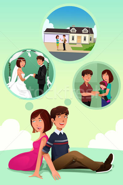 Young couple imagining their life together Stock photo © artisticco