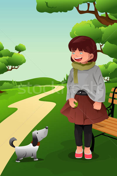 Girl playing with her dog Stock photo © artisticco