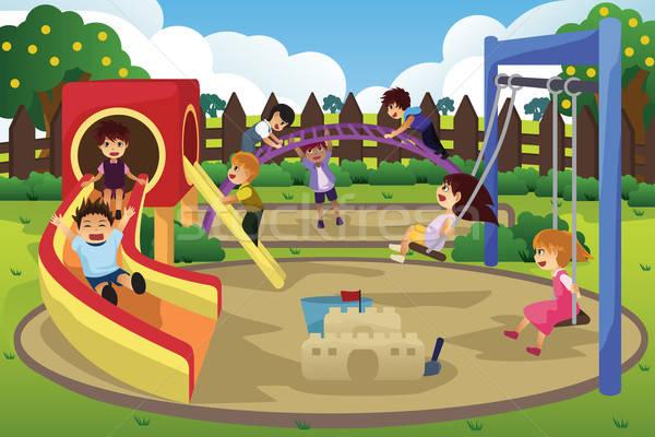 Stock fotó: Gyerekek · játszik · játszótér · mosoly · lányok · jókedv