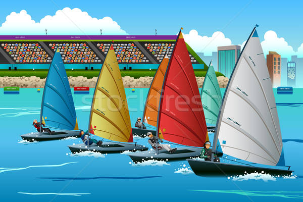 Athletes Sailing in the Competition Stock photo © artisticco