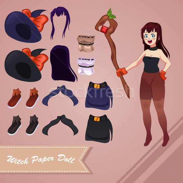 Witch papieru lalek model pieprz rysunek Zdjęcia stock © artisticco
