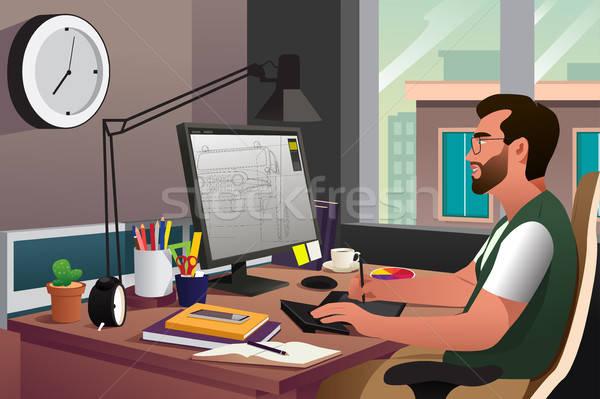 Illustrator werken computer glimlach pen kunst Stockfoto © artisticco