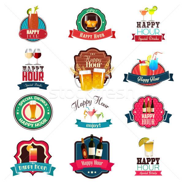 Feliz hora diseno diseños signo bar Foto stock © artisticco