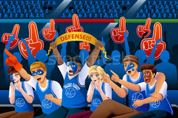 Basketbal fans juichen binnenkant stadion meisje Stockfoto © artisticco