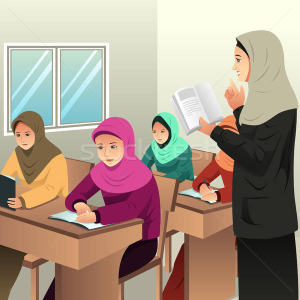 ムスリム 学生 教室 教師 子供 学校 ストックフォト © artisticco