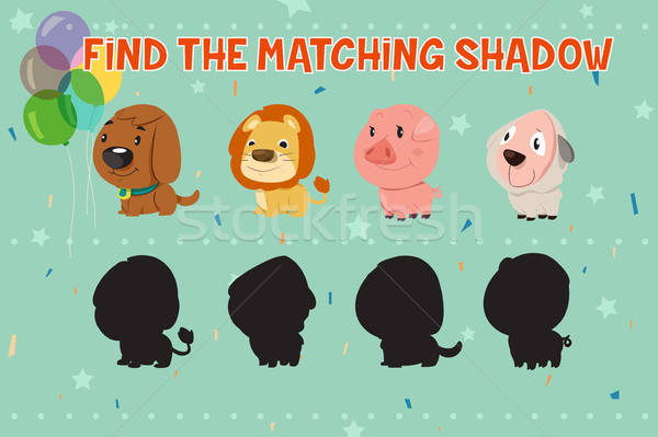Animals Shadow Matching Game for Kids Stock photo © artisticco