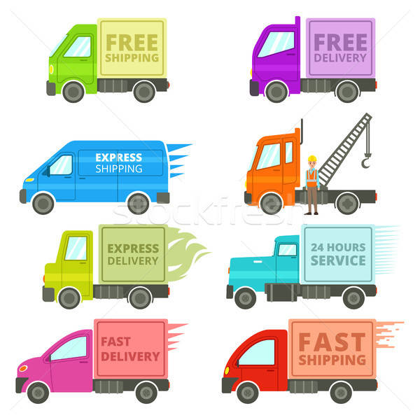 Trucks With Free or Fast Shipping Signs Illustration Stock photo © artisticco