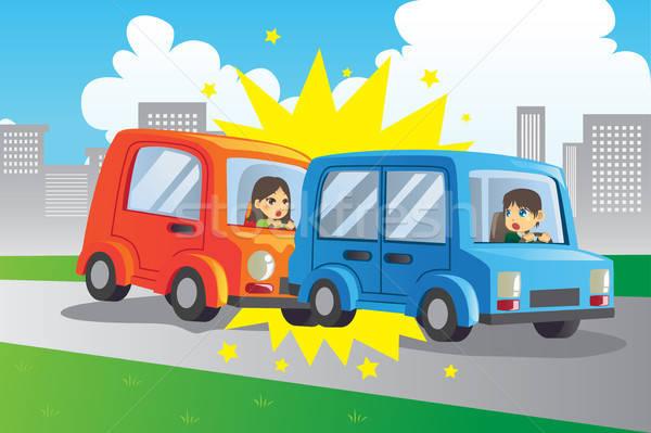 Auto ongeval twee auto vrouw weg Stockfoto © artisticco