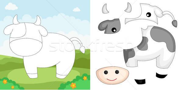 Vache puzzle éducation ferme apprentissage jeu Photo stock © artisticco