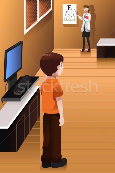 Сток-фото: мальчика · глазах · врач · служба · мало · компьютер
