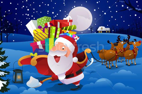 Święty mikołaj sanie śniegu funny christmas rysunek Zdjęcia stock © artisticco