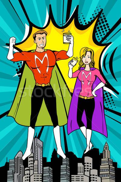ストックフォト: スーパーヒーロー · 飲料 · ミルク · 男 · 健康 · ドリンク