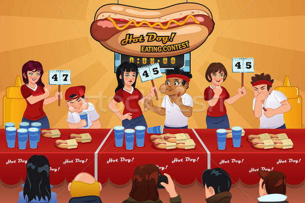 People in Hotdog Eating Contest Stock photo © artisticco